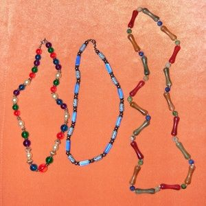 Vintage 1980s Colorful Beaded Necklace Lot